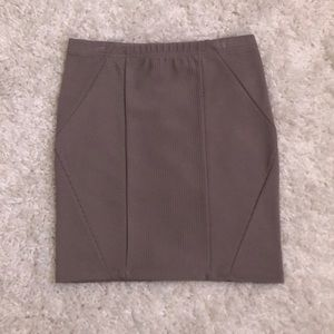 F21 Taupe Ribbed Geometric-Front Mini Skirt